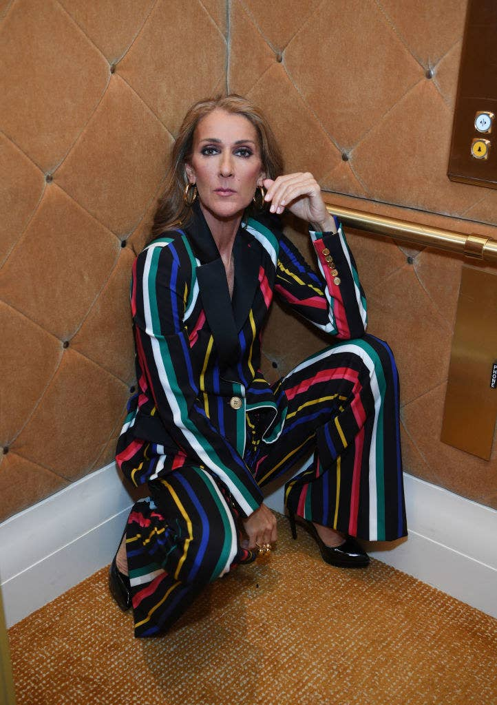 Celine Dion crouching down in an elevator while wearing a rainbow striped jumper in 2019