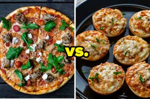 Pizza vs mini pizza bites