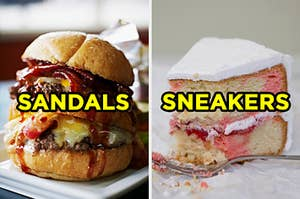 """On the left, a double bacon cheeseburger labeled """"sandals,"""" and on the right, a strawberry and vanilla marble cake with cream cheese frosting labeled """"sneakers"""""""