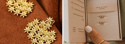 on the left gold flower earrings and on right stud earrings in a gift box