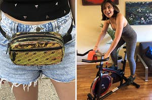 on the left a gold adidas waist pack, on the right the writer on a stationary exercise bike