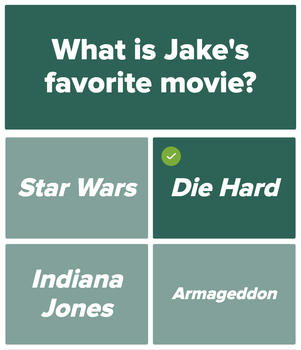 Question: What is Jake's favorite movie?
