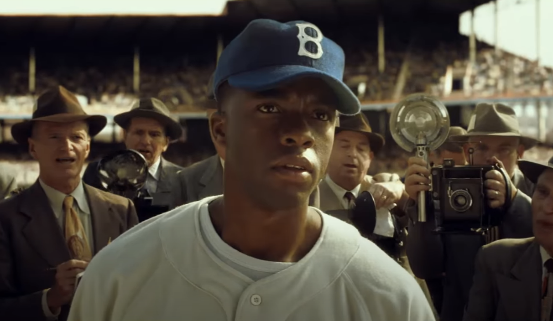 "Boseman as Jackie Robinson in ""42"""