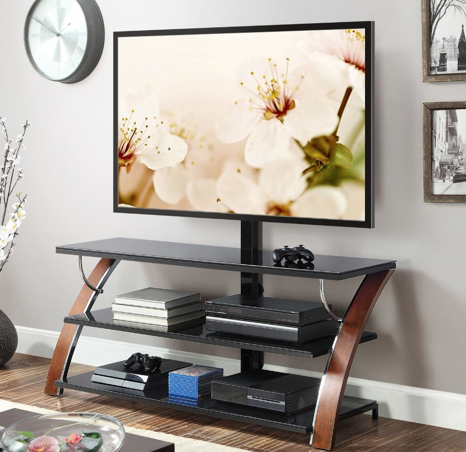 The 3-in-1 plat panned TV stand in brown cherry