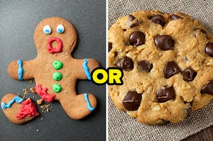 Broken gingerbread man or a chocolate chip cookie