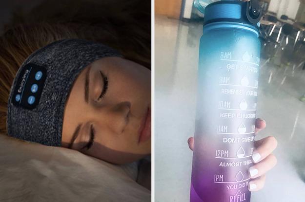 sleep headphones and water bottle