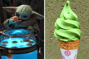 On the left, Baby Yoda holding an egg, and on the right, a  matcha soft serve ice cream cone