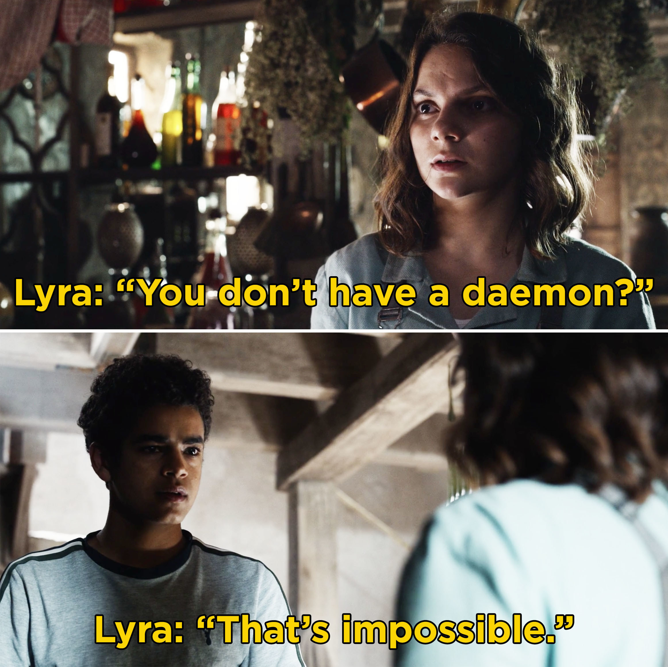 "Lyra asking Will, ""You don't have a daemon?"""