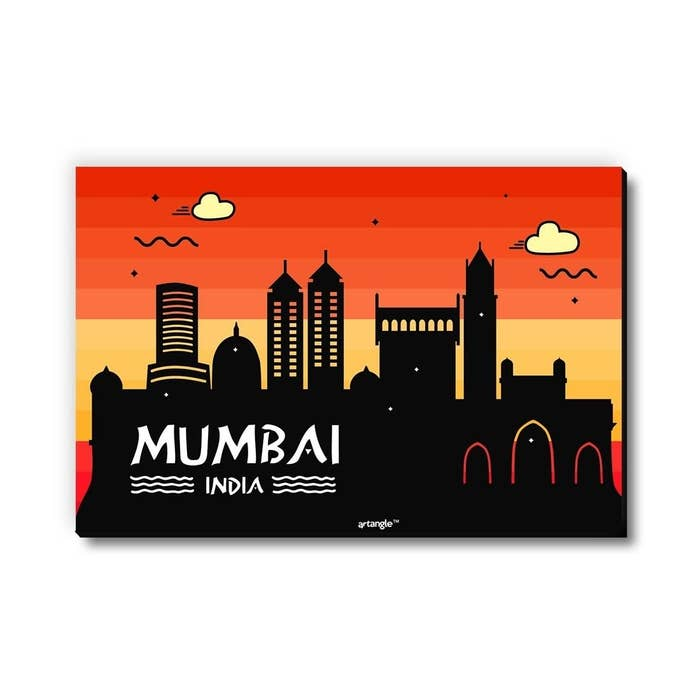 A Mumbai skyline magnet in shades of red, orange, yellow and black.