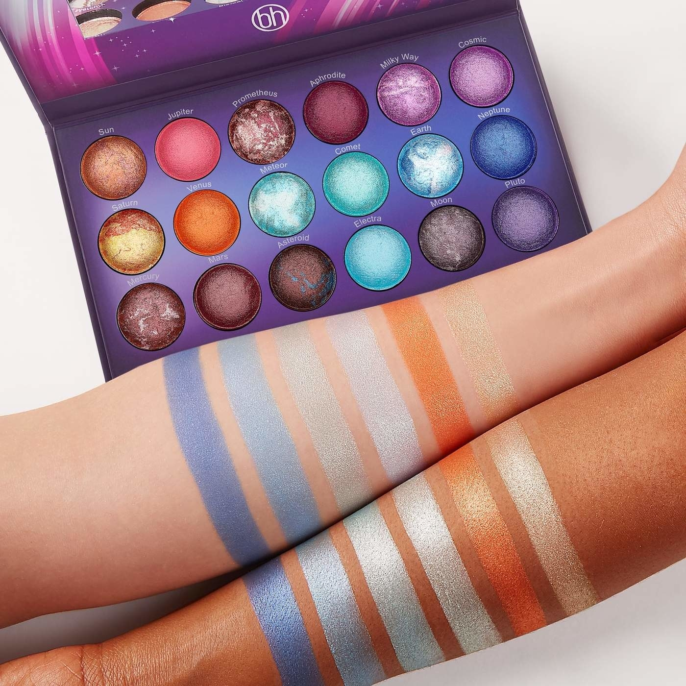 the galaxy chic palette and two arms with swatches of six shades on them