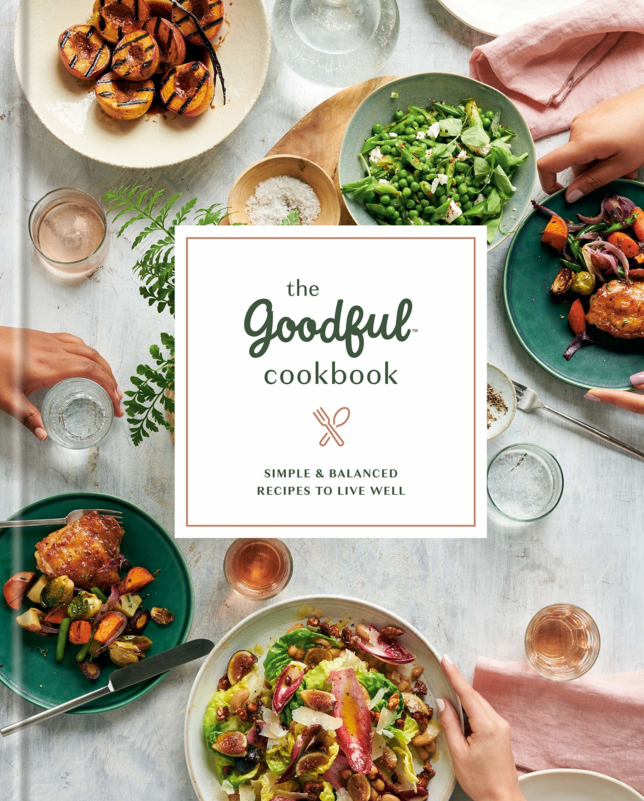 Book cover with table full of foods