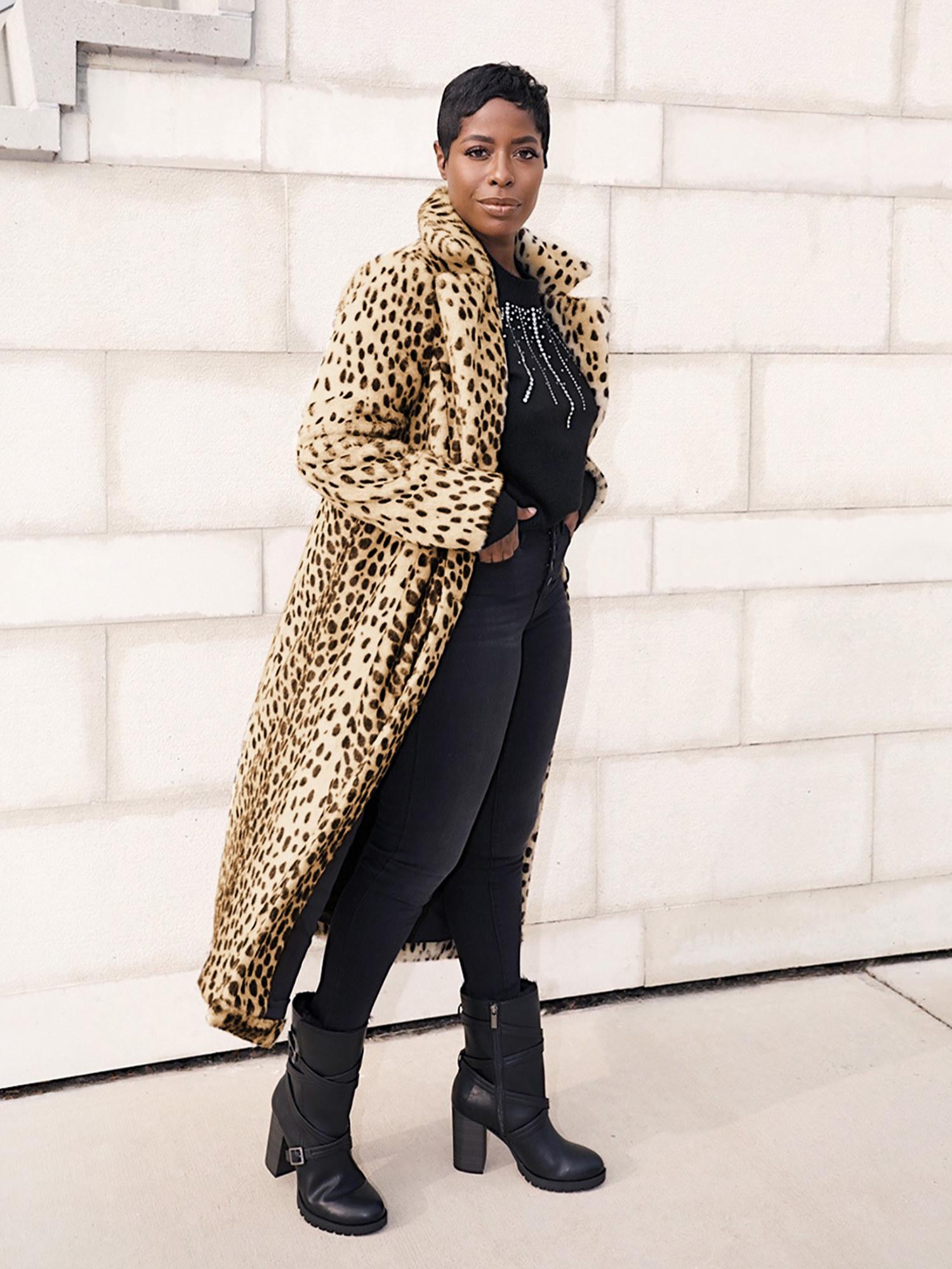 Model wearing the leopard coat