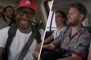 """Queer Eye"" cast members Karamo Brown, Bobby Berk and Antoni Porowski driving"