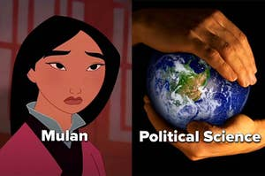 """Mulan and a globe in someone's hands with the words """"Political Science"""""""