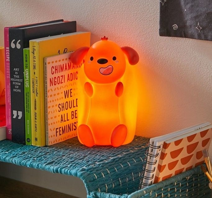 The hotdog light illuminated in a bedroom setting
