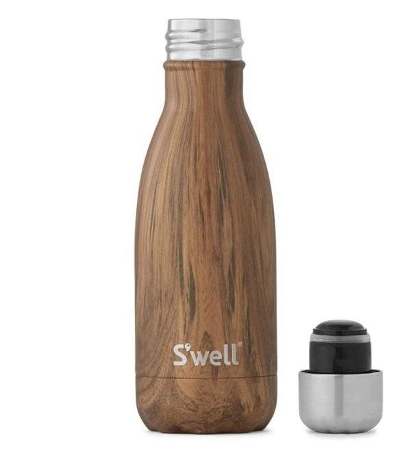 the teakwood insulated stainless steel bottle