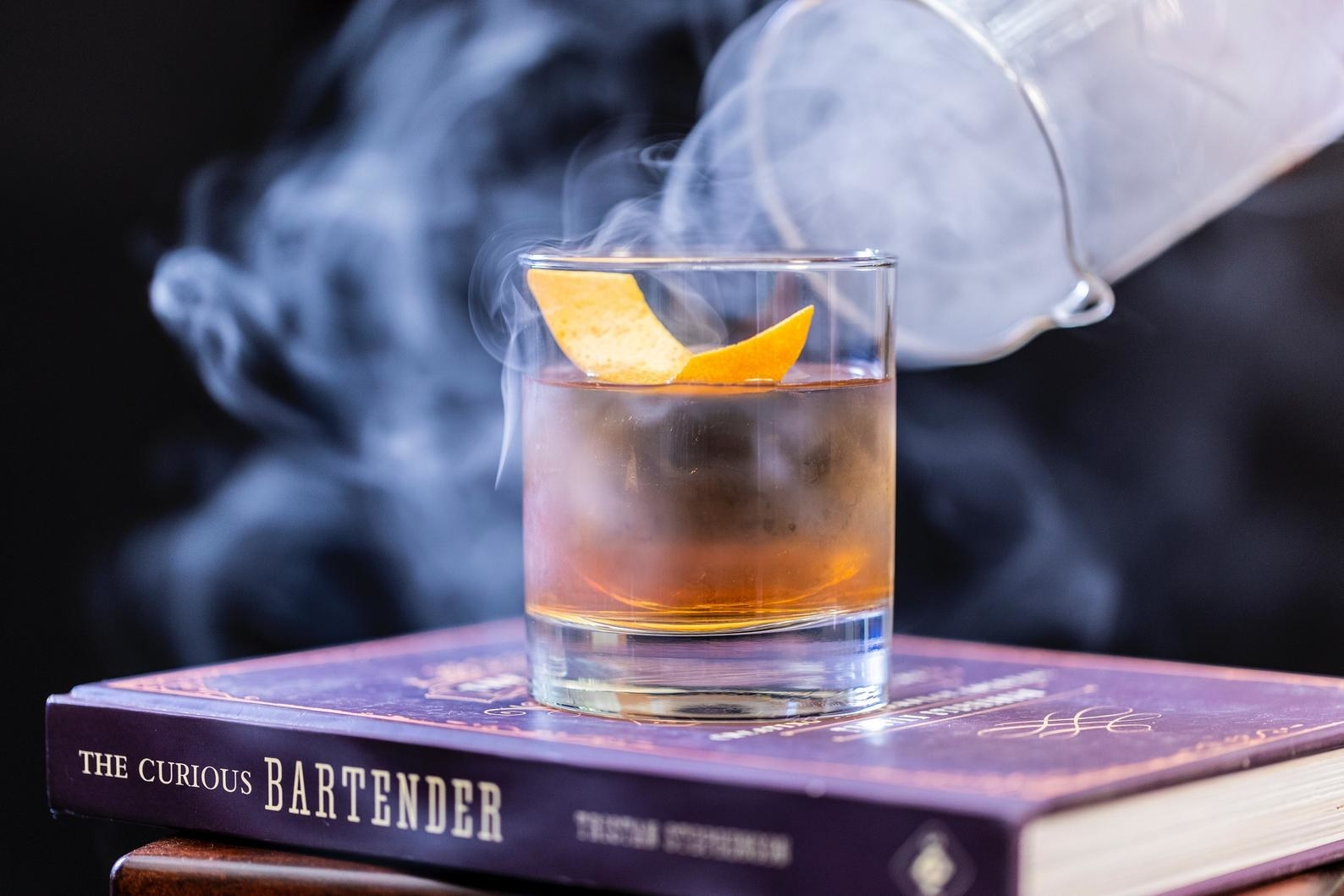 whiskey cocktail that's smoking