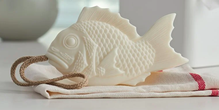 fish shape saop in white on a rope
