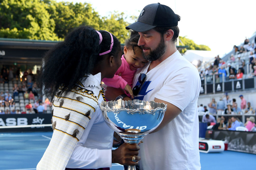 Serena Williams, husband Alexis Ohanian, and daughter Alexis Olympia after Serena won a 2020 match