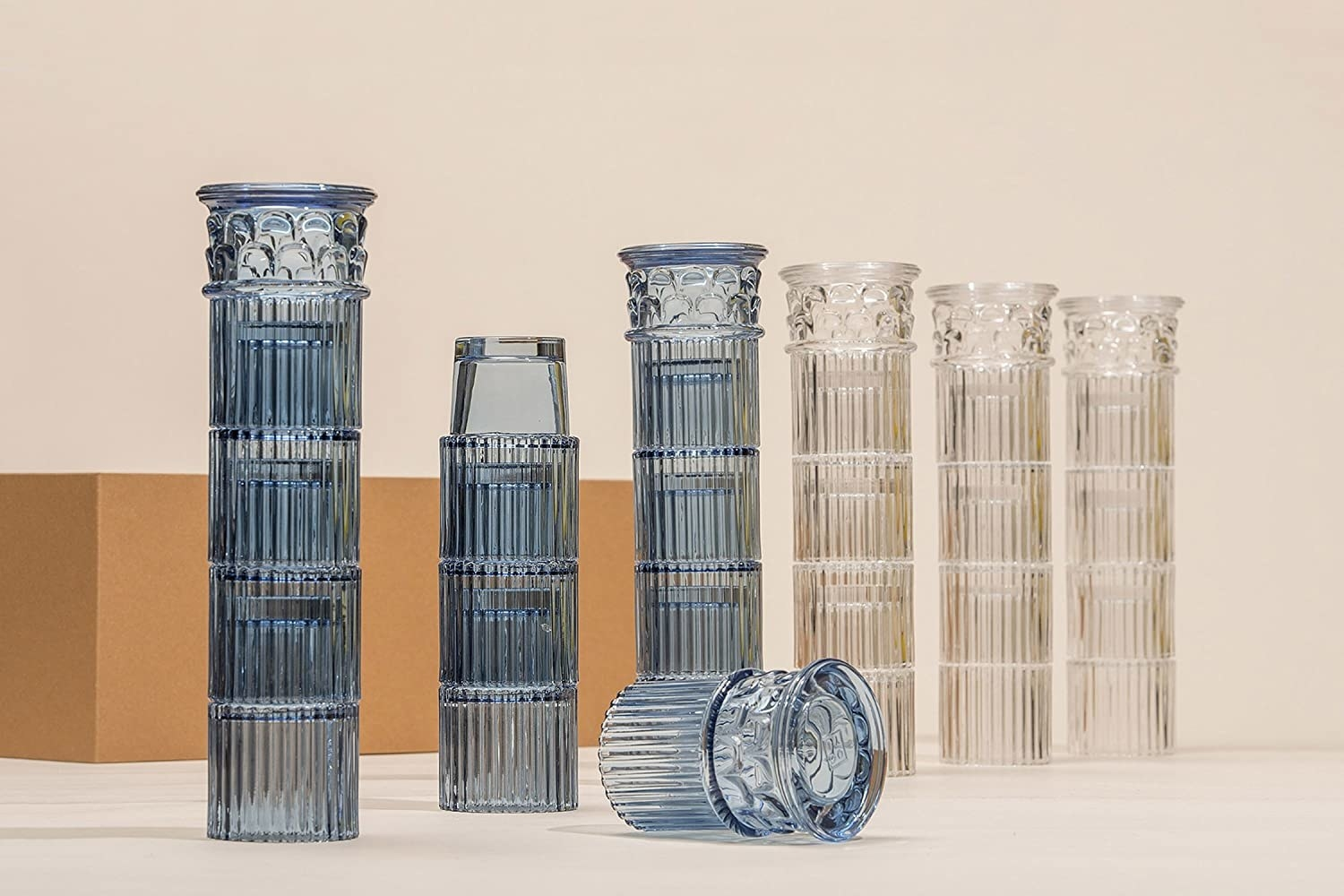 stacked glasses that look like Greek columns
