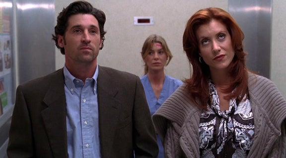 Meredith, Addison, and Derek in an elevator