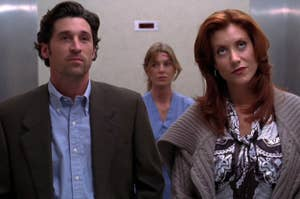 Meredith, Derek, and Addison awkwardly standing in an elevator