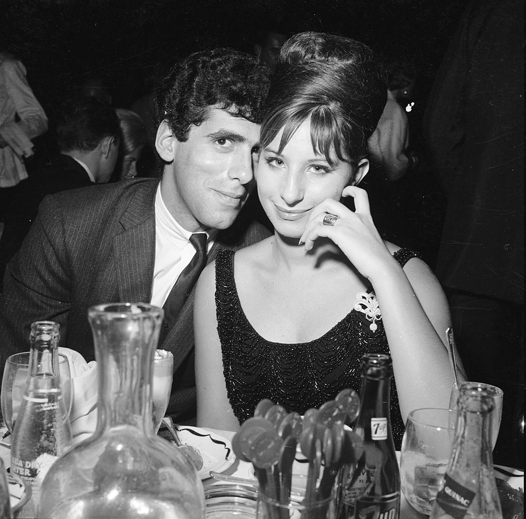 Barbra Streisand and Elliott Gould at a dinner together in the late '60s