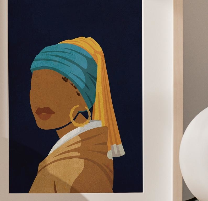"""wall art in the style of """"The Girl with the Pearl Earring"""" except featuring a black woman wearing hoop earrings"""