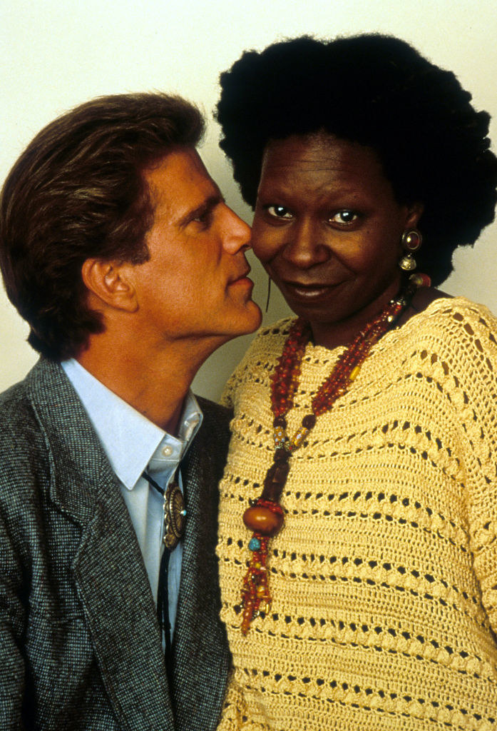 "Ted Danson and Whoopi Goldberg posing for promo photos for ""Made In America"""