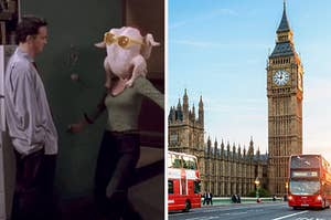 Monica dancing with a turkey on her head for Chandler next to Big Ben