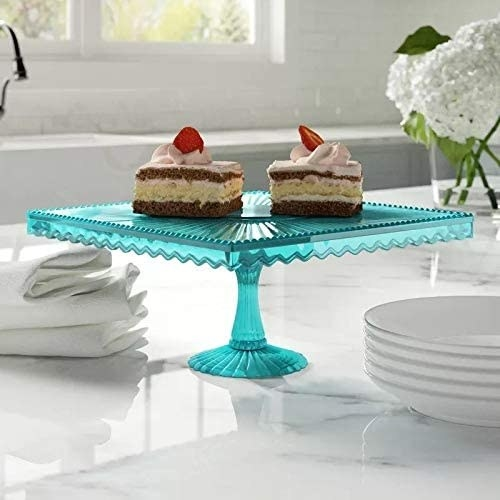 square shape teal flat cake stand