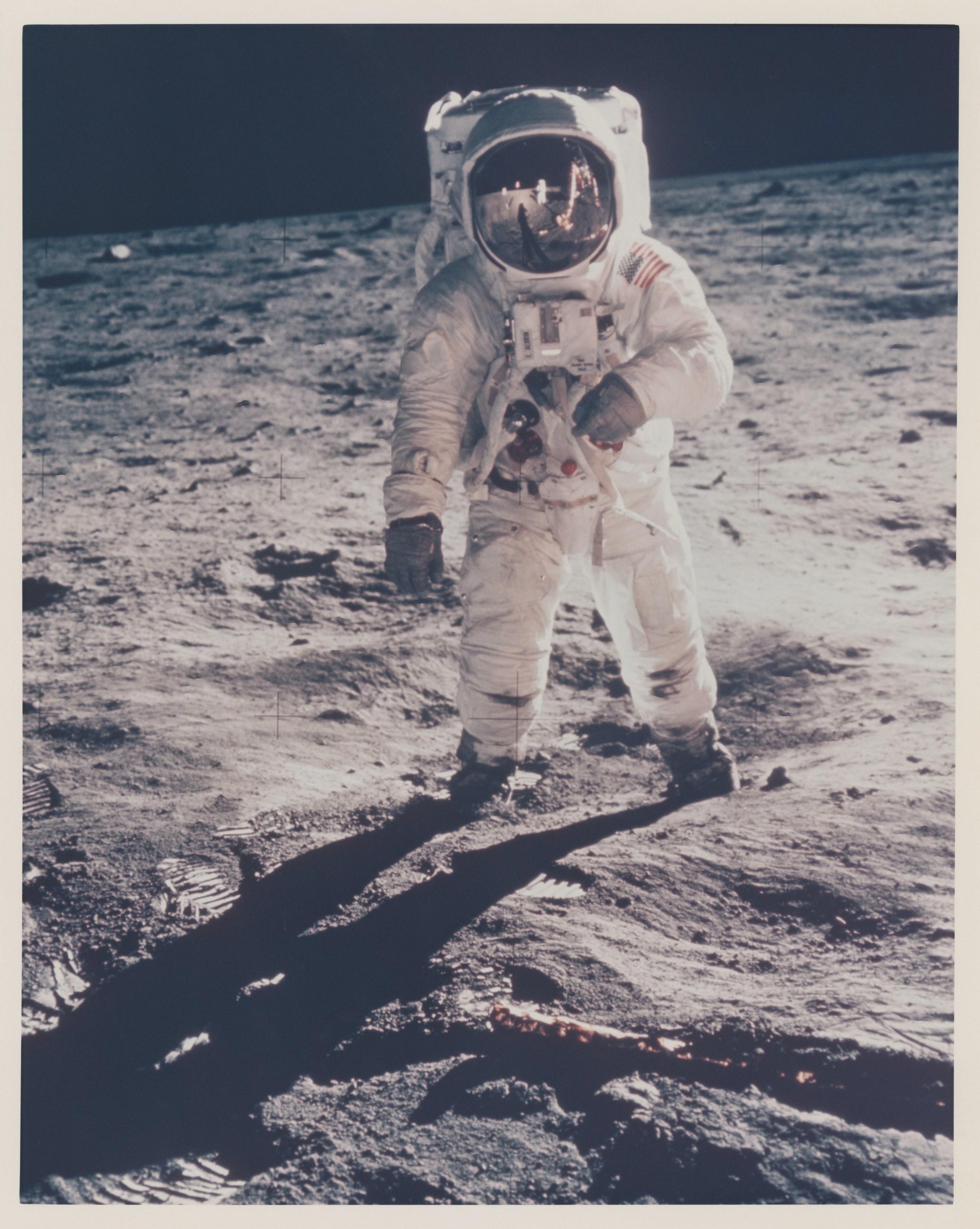 An astronaut on the moon.