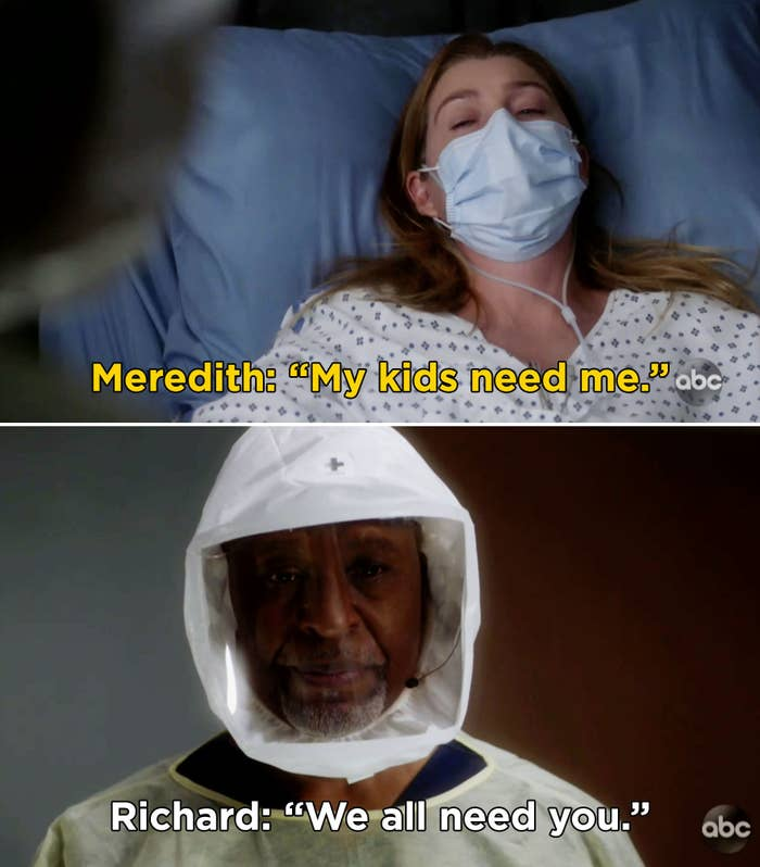 "Meredith saying, ""My kids need me"" and Richard replying, ""We all need you"""