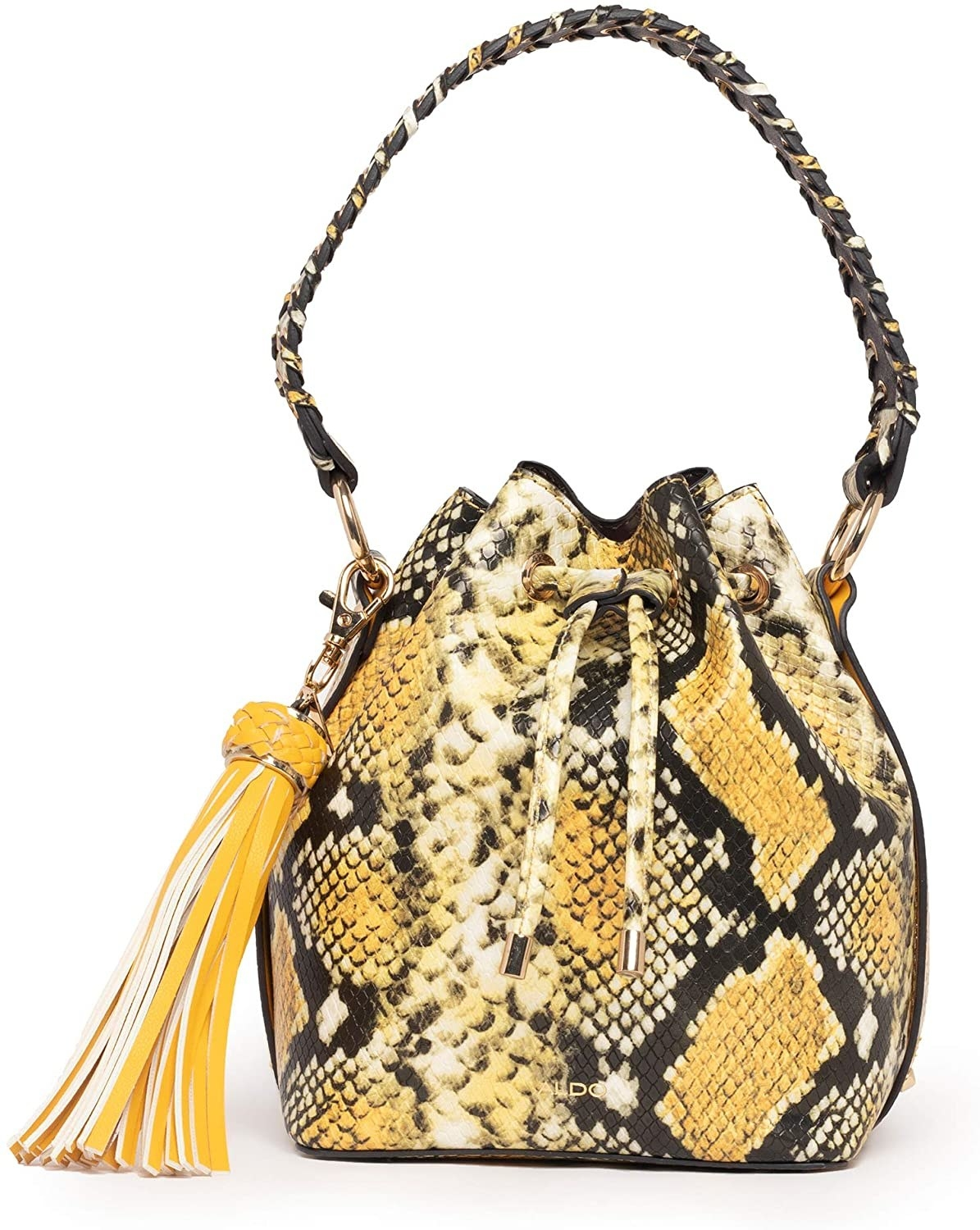 The yellow snake faux snakeskin bag with an oversized tassel charm