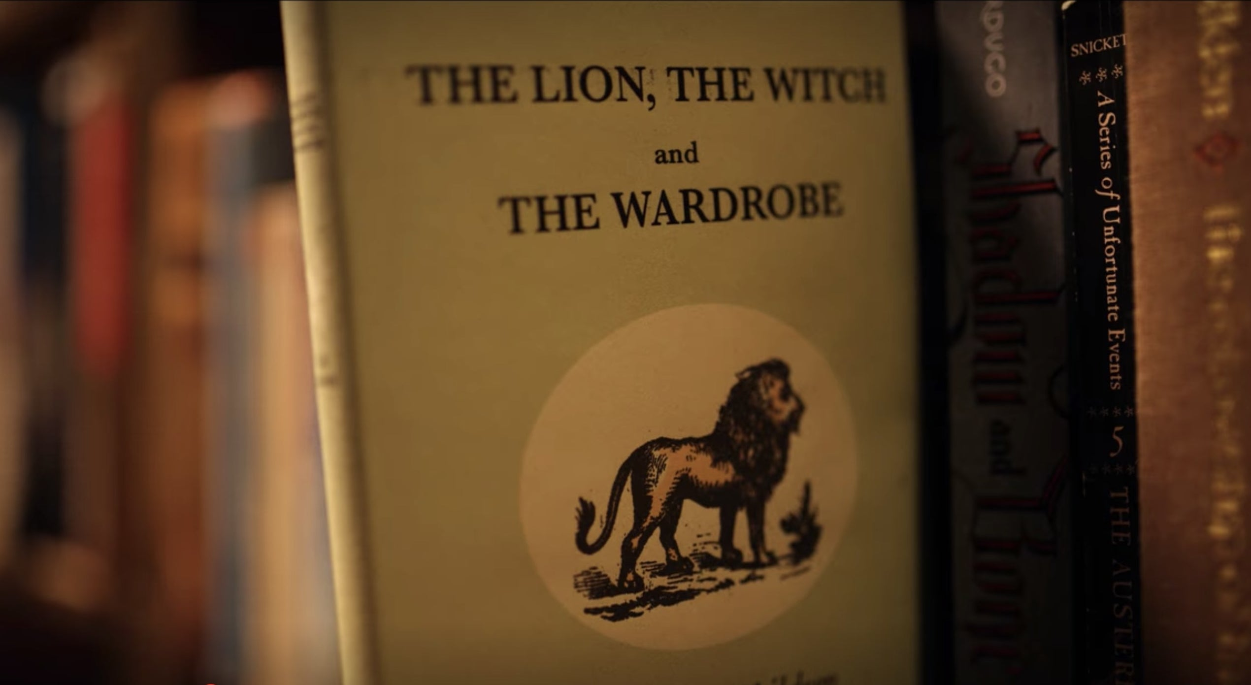 A copy of The Lion, the Witch and the Wardrobe on a shelf