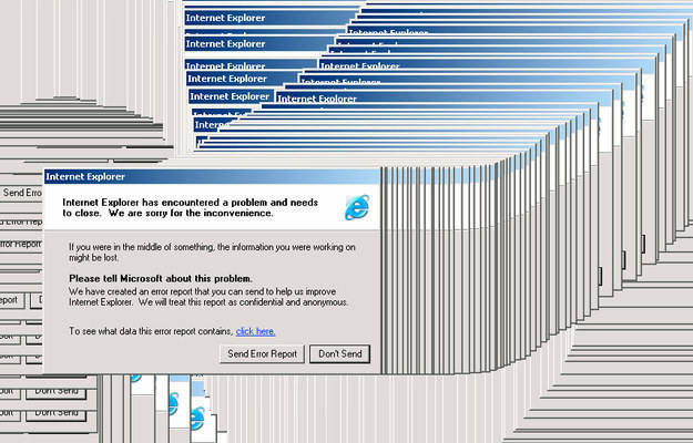 A screenshot of a crash Internet Explorer page