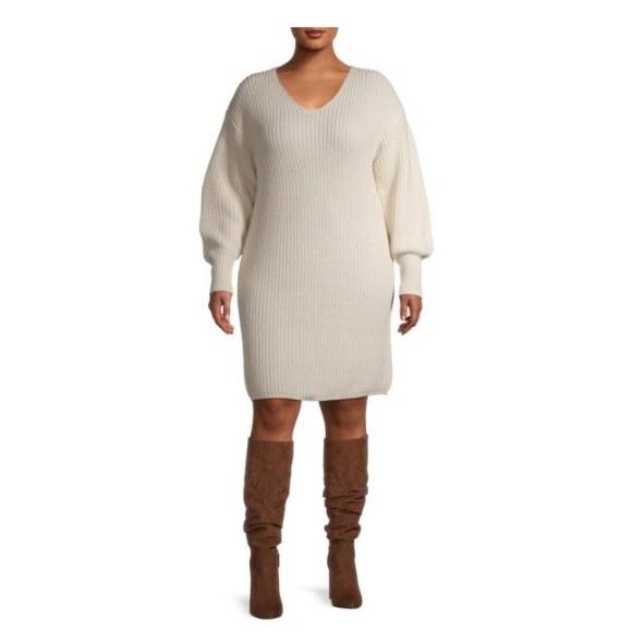 A balloon sleeved sweater dress.