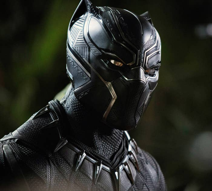 Black Panther in his mask and costume