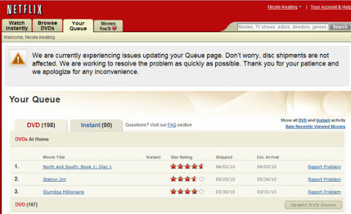 An old Netflix DVD queue from the 2009