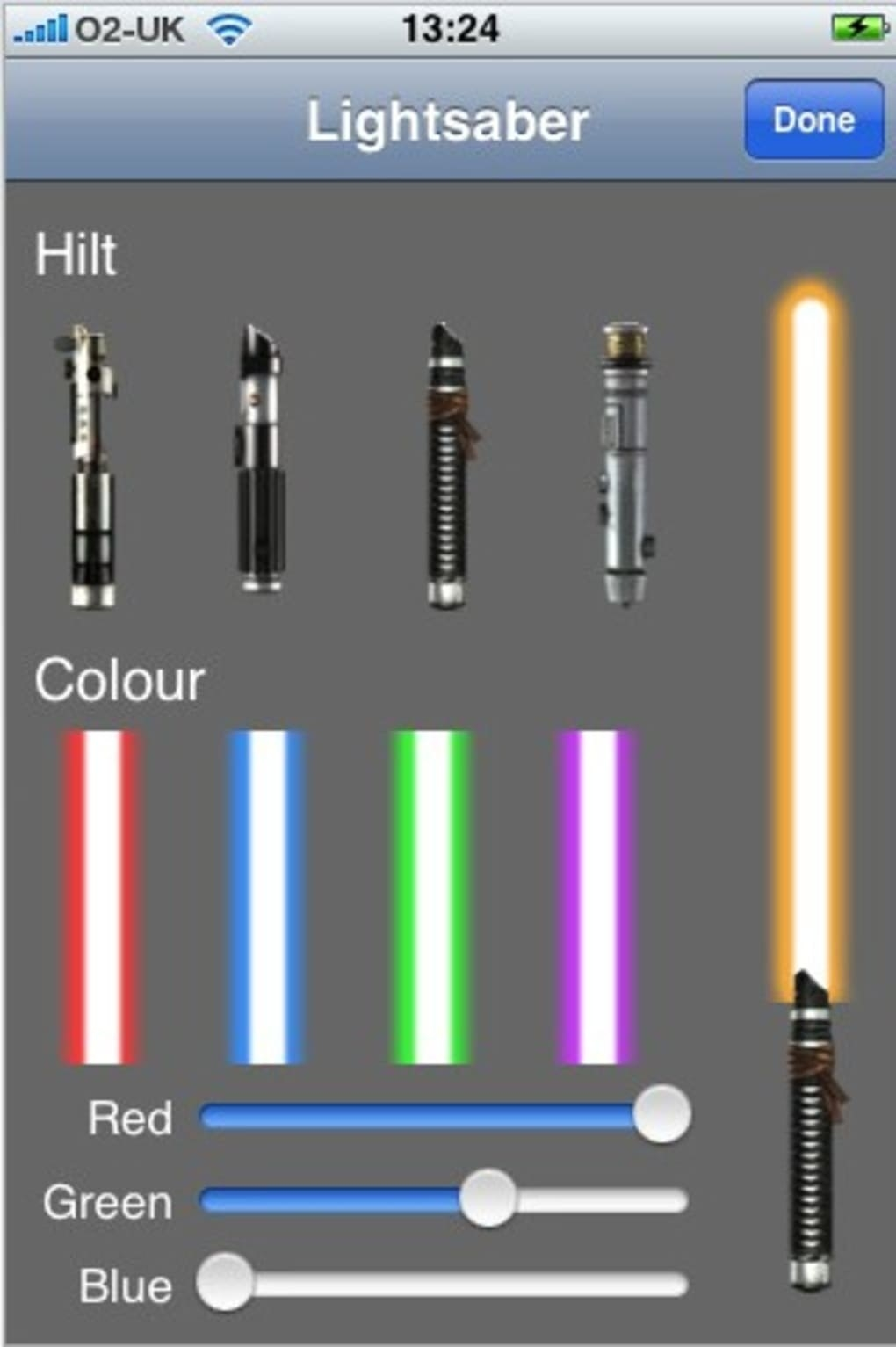 Screenshot of Lightsaber app section that allowed you to customize your own lightsaber