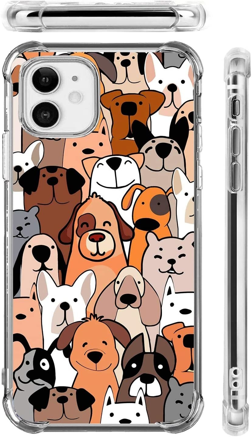 Close up of phone case covered in different illustrated dogs