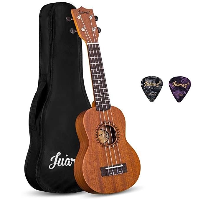 Wooden ukulele with a black case.