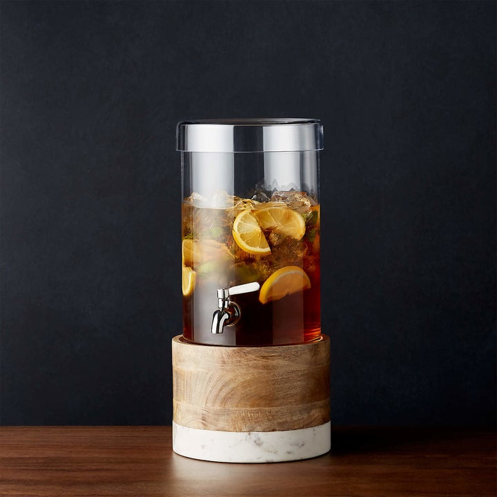 glass drink dispenser with matching wood and marble base