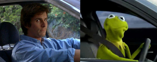 A photo of Christian Bale driving a car and a photo of Kermit the Frog driving a car