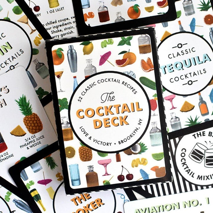 box of the cards with little illustrated cocktails on the front