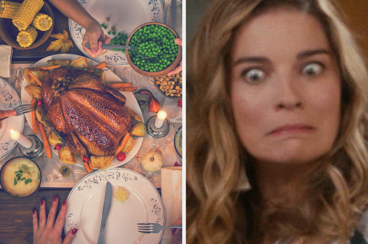 A Thanksgiving dinner next to an image of Alexis, with wide eyes and pursed lips, from Schitt's Creek