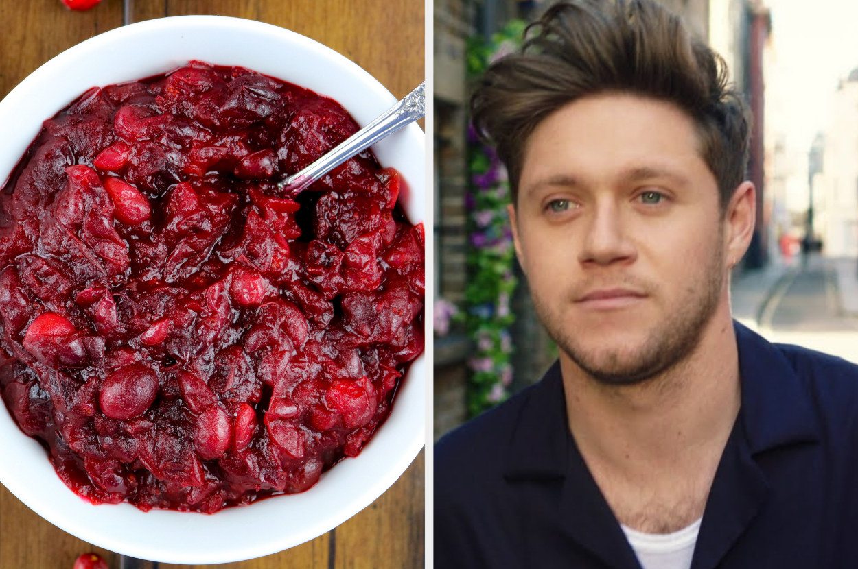 a bowl of cranberry sauce next to an image of Niall Horan