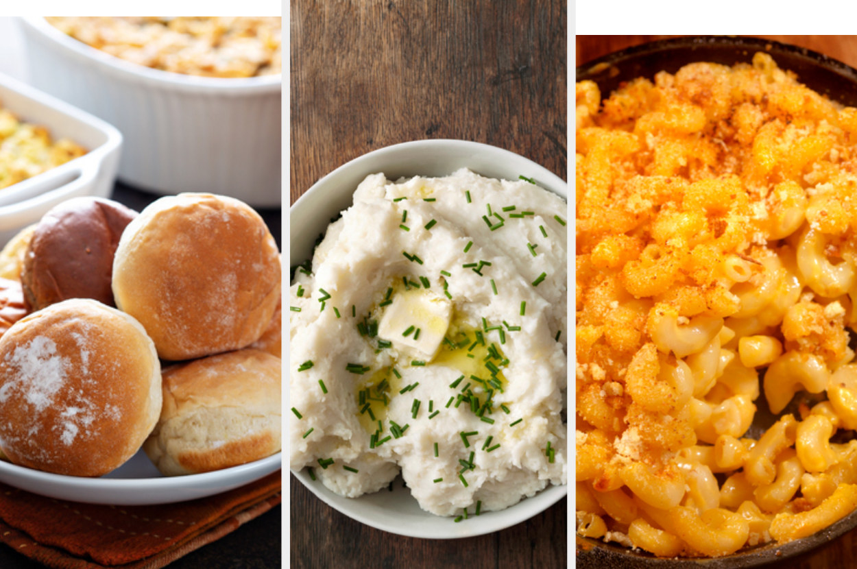 Rolls, next to an image of mashed potatoes, and another image of mac and cheese