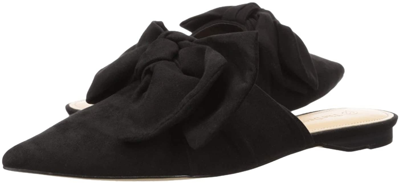 The backless mules in black with a large black bow on top
