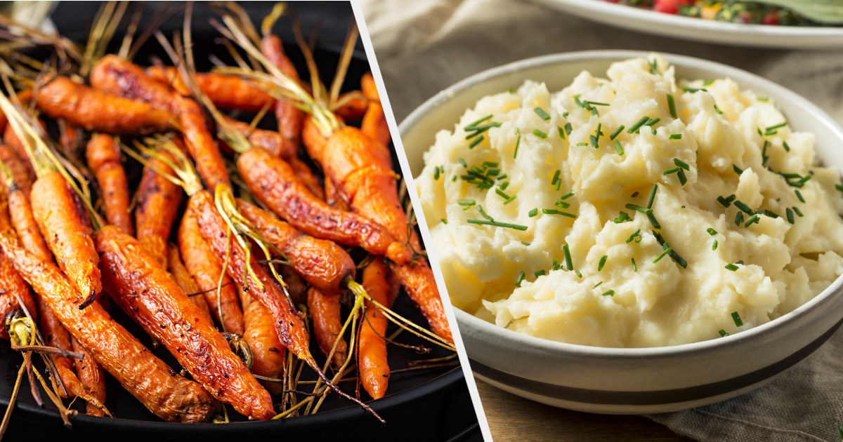 A plate of roasted carrots next to an image of a bowl of mashed potatoes